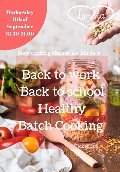 Cooking Class poster at Lu-Ma Cafe